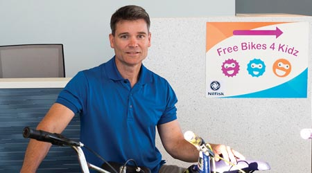 Freetime: Dave Wood, Nilfisk, Helps Launch Free Bikes For Kids