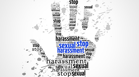 Stop Sexual Harassment sign words clouds shape isolated in white background