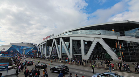 Outside State Farm Arena in Atlanta, Georgia. The arena is home to the NBA's Atlanta Hawks and is next to Mercedes Benz Stadium