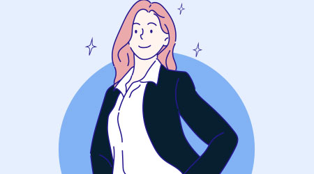 uccessful business woman dressed in stylish black suit. Confident businesswoman concept. Hand drawn in thin line style, vector illustrations.