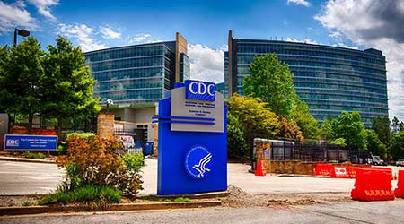 ATLANTA - April 25, 2020: The U.S. Centers for Disease Control and Prevention in Atlanta, GA. The agency is responsible for preventing the spread of infectious diseases such as Covid-19. R