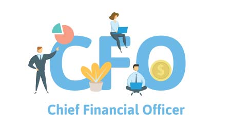 CFO, Chief Financial Officer. Concept with keywords, letters, and icons. Colored flat vector illustration. Isolated on white background.