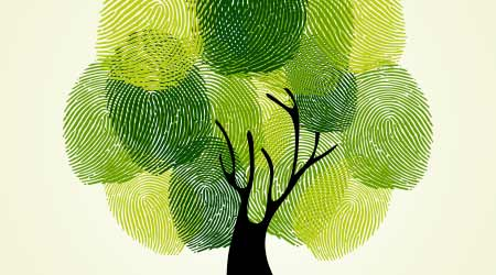 Go Green identity tree finger prints illustration. Vector file layered for easy manipulation and custom coloring.