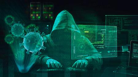 hacker virus malware attack during coronavirus pandemic concept