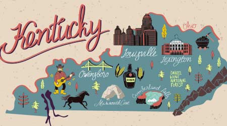 Illustrated map of Kentucky