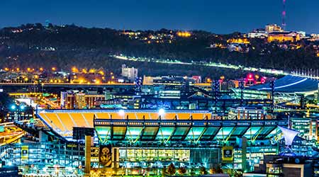 PITTSBURGH - NOVEMBER 10, 2016: Heinz Field stadium by night. Heinz Field stadium serves as the home to the Pittsburgh Steelers and Pittsburgh Panthers football teams.