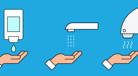 Automated touchless restroom equipment with sensors. Hand washing procedure icon. How to wash hands safely instructions. Soap, scrub, rinse and dry. Blue background. Vector illustration, flat,clip art