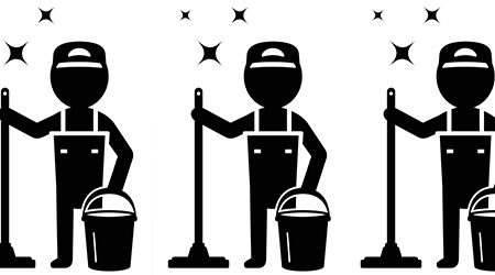isolated cleaner man silhouette cleaning company symbol