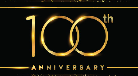 one hundred years anniversary celebration logotype