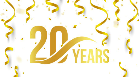 Isolated golden color number 20 with word years icon on white background with falling gold confetti and ribbons
