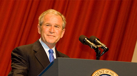 President George W. Bush delivers a speech