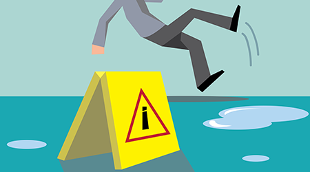 Beware your step concept;man slipping on wet floor