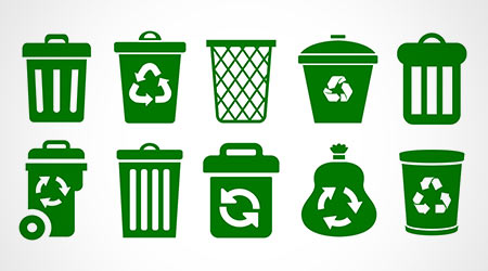 Set of trash cans, recycling and composting