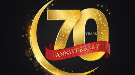 70 years anniversary Pattern with arabic golden, gold half moon and glitter