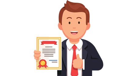 "Animation of a man in a suit holding a certificate while giving the ""thumbs up"""