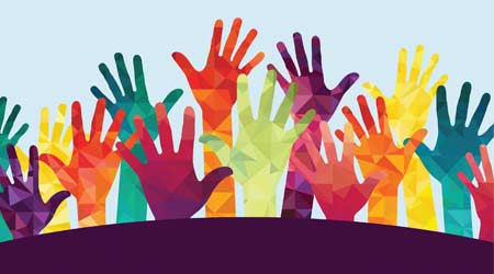 colorful hands raised in response to annual reader survey