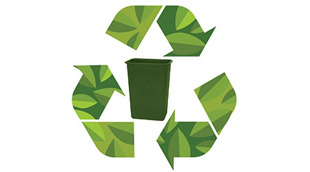 recycling symbol with green collection bin