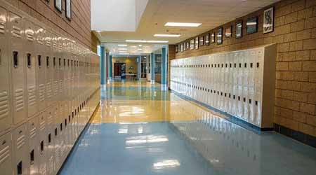 clean floor inside hallway of Hillside Middle School in Salt Lake City Utah