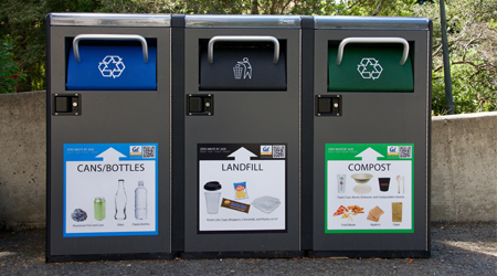 outdoor trash, recycling and compost bins for facilities