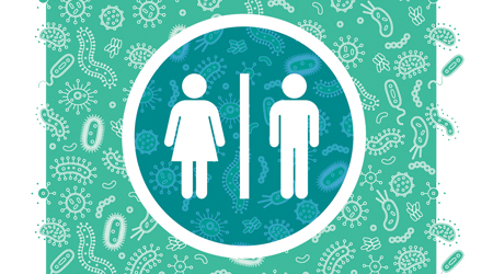 male and female sign for restroom on blue background
