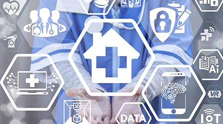House medical cross medicine health care integration IT concept