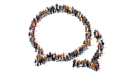 Speech bubble animated people from an aerial view