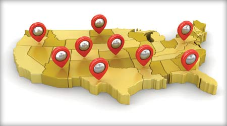 A 3D view of the United States with pins stuck in random locations