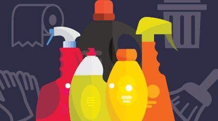 An illustration of various cleaning products and items