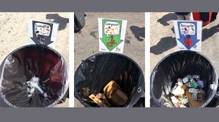 Three photos of receptacles for landfill waste, compost and recycling, respectively