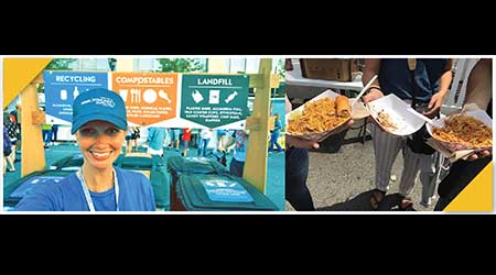 At left, a woman smiles. At right, people hold up containers holding food