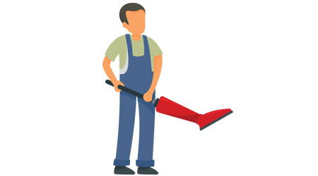 Animated worker uses vacuum