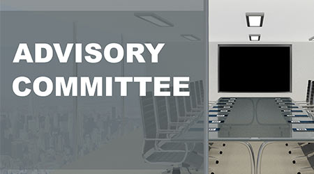 """ADVISORY COMMITTEE"""" title on a glass compartment with conference room in the background"""