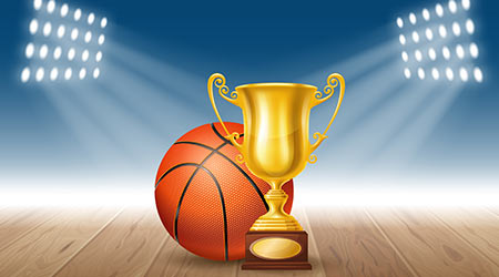 Realistic Golden Trophy Cup and Basketball Ball on Basketball Court