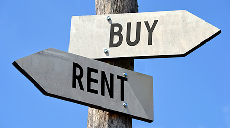 Rent and buy signpost