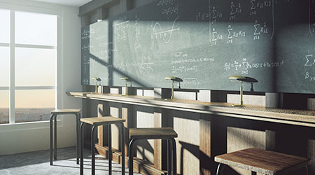 college classroom with equation solution on blackboard at sunrise
