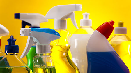 Cleaning supplies, chemicals and spray bottles