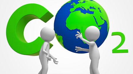 Co2/earth/two people stand in front of the carbon dioxide symbol talking