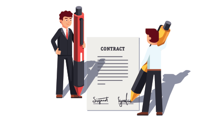 Business man people holding giant pens & signing large contract. Writing signature. Metaphor of starting new venture, making deal