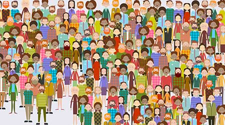 Big Crowd of Businesspeople Flat Vector Illustration