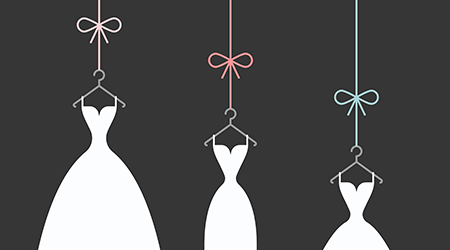 bridal dresses white on a hangers on the black background