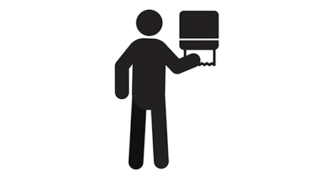 Man using paper towel dispenser silhouette icon. Wiping hands at public toilet