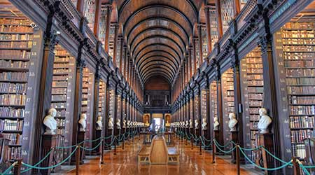The Long Room in the Old Library at Trinity College Dublin