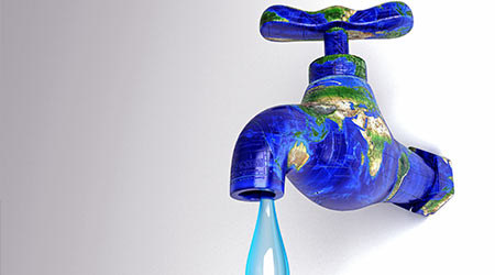 3d image of water droplet from earth in shape of faucet