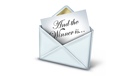 Award winner envelope with a white letter and gold trim unveiling the name of the winning recipient as a symbol of business or entertainment success and achievement on a white background