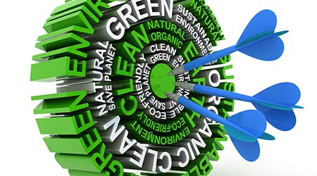 3d render of a target formed by words related to environmental conservation