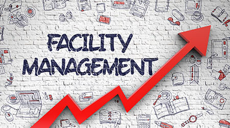 Facility Management Drawn on White Brick Wall