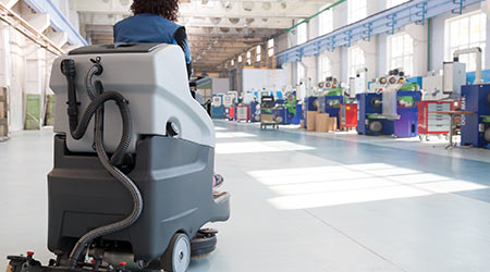 Professional Cleaning Factory Floor with Washing Vacuum Cleaner