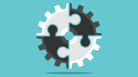 Cog wheel assembled of white and black puzzle pieces on turquoise blue background