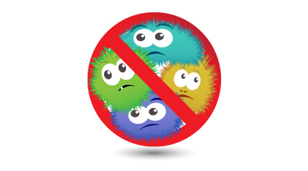 Antibacterial sign with funny colorful cartoon bacteria