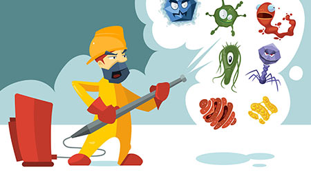 cleaning worker fighting Anti germs, microbes